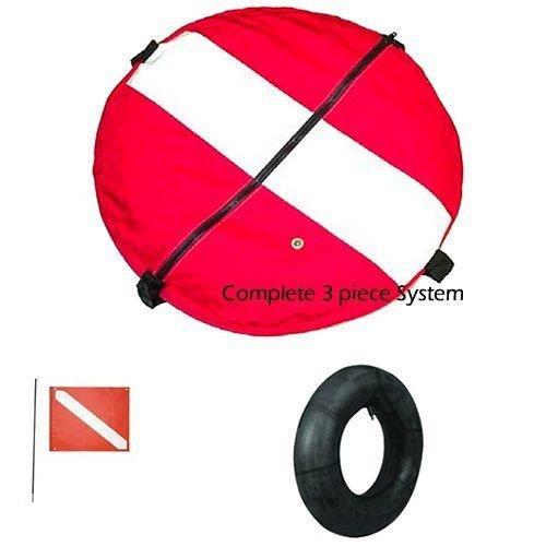 Float, Flag, Flag Pole, and Innertube Package (red/white dive flag-20'x24', 4ft pole)