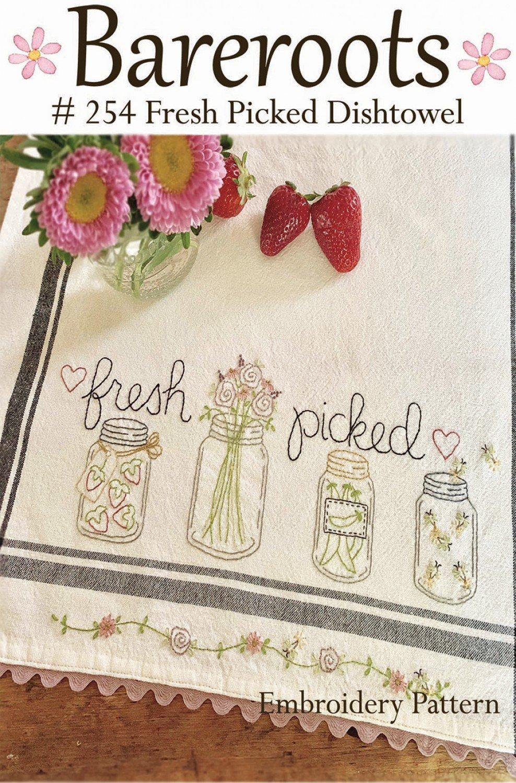 Bareroots - Dishtowel Pattern and Floss Kit - 05 May - Fresh Picked - BR254K