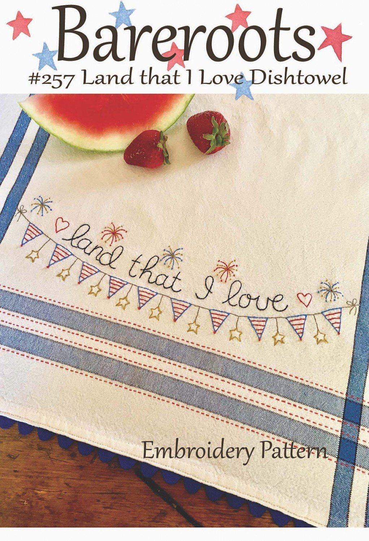 Bareroots - Dishtowel Pattern and Floss Kit - 07 July - Land That I Love - BR257K