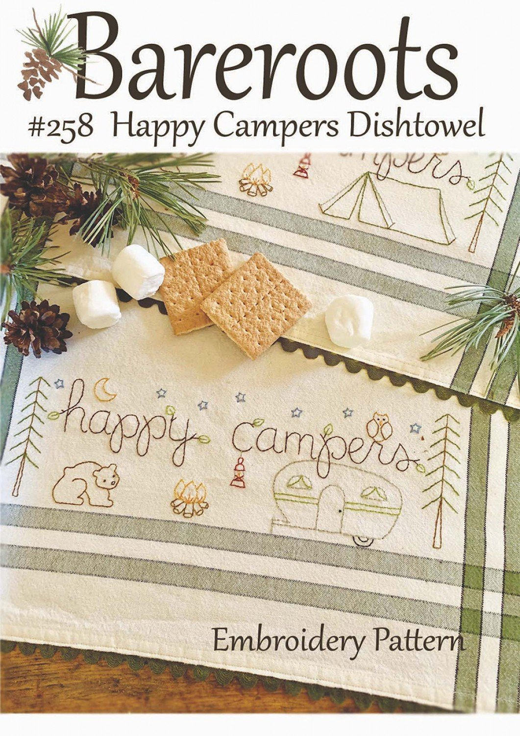 Bareroots - Dishtowel Pattern and Floss Kit - 08 August - Happy Campers - BR258K