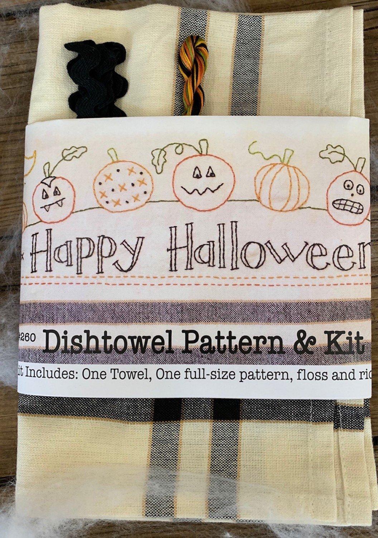 Bareroots - Dishtowel Pattern and Floss Kit - 10 October - Happy Halloween - BR260K