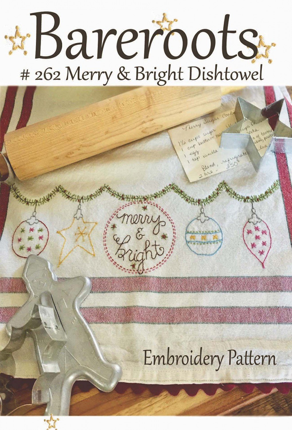 Bareroots - Dishtowel Pattern and Floss Kit - 12 December - Merry and Bright - BR262K