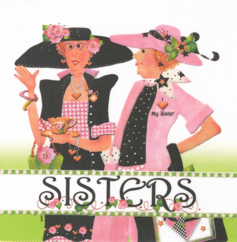 Jody Houghton - Fabric Art Panel - AP63 - 2 Sisters - 6in x 6in