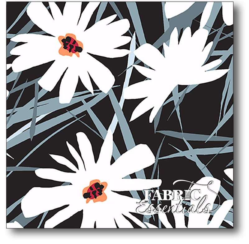 Andover - Daisy Splash - Large Flowers - A-7836-K Black