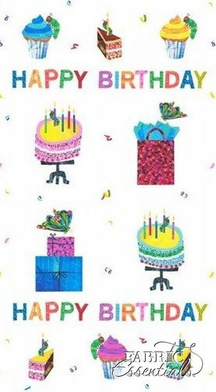 Andover - Eric Carle - Happy Birthday - PANEL - A-5874-M
