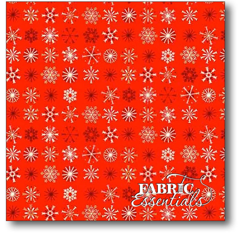 Andover - Traditional Metallic Christmas - TP-1796-R Red Snowflakes