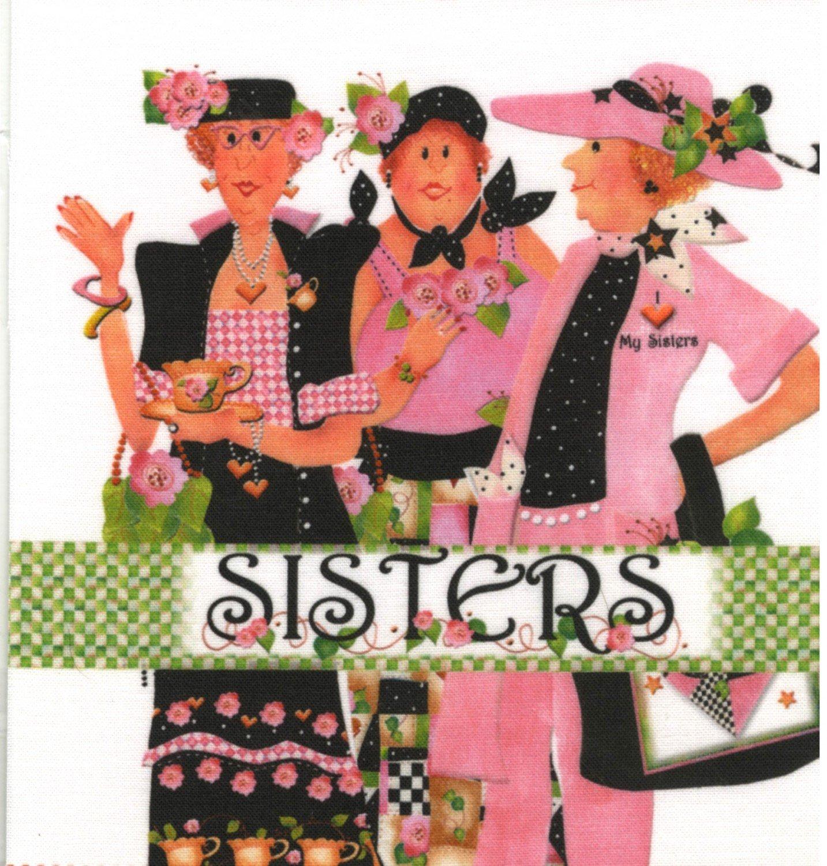Jody Houghton - Fabric Art Panel - AP612 - 3 Sisters - 6in x 6in