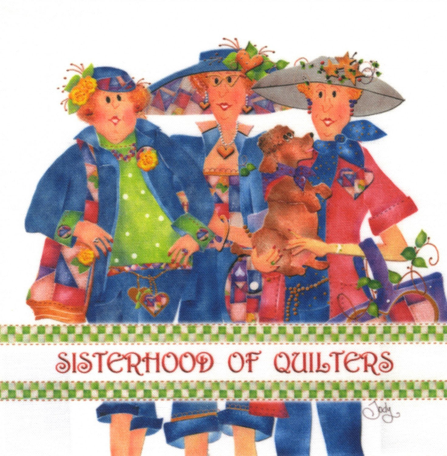 Jody Houghton - Fabric Art Panel - AP615 - Sisterhood of Quilters Logo - 6in x 6in