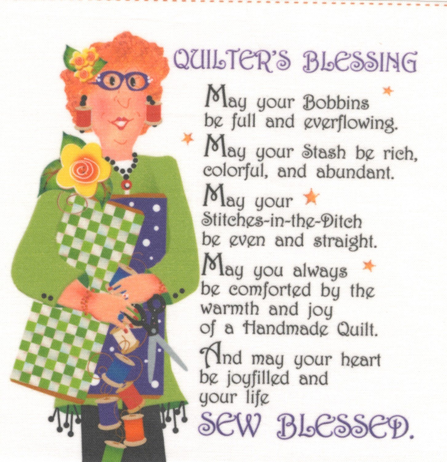 Jody Houghton - Fabric Art Panel - AP62 - Quilter's Blessing - 6in x 6in