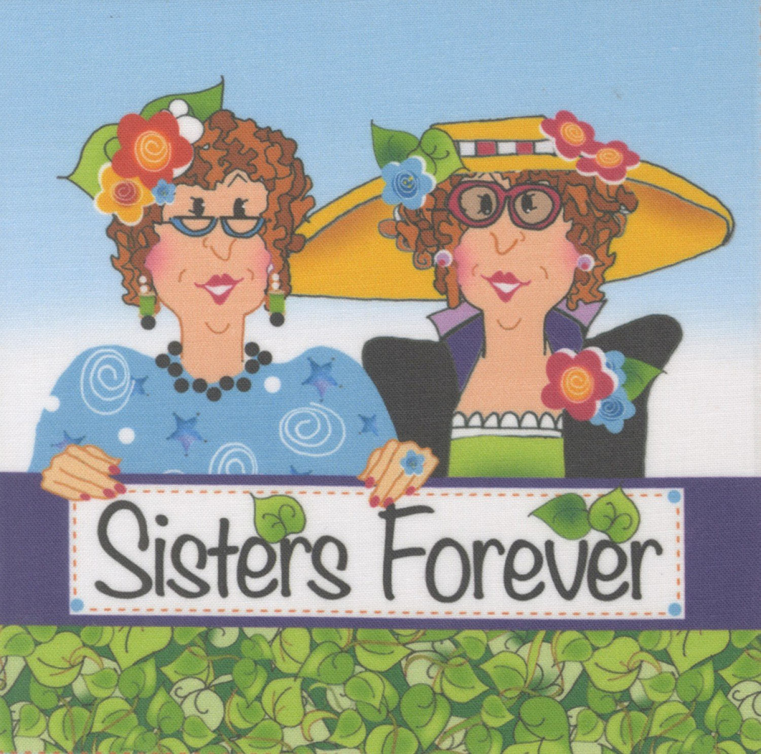 Jody Houghton - Fabric Art Panel - AP625 - Sisters Forever - 6in x 6in