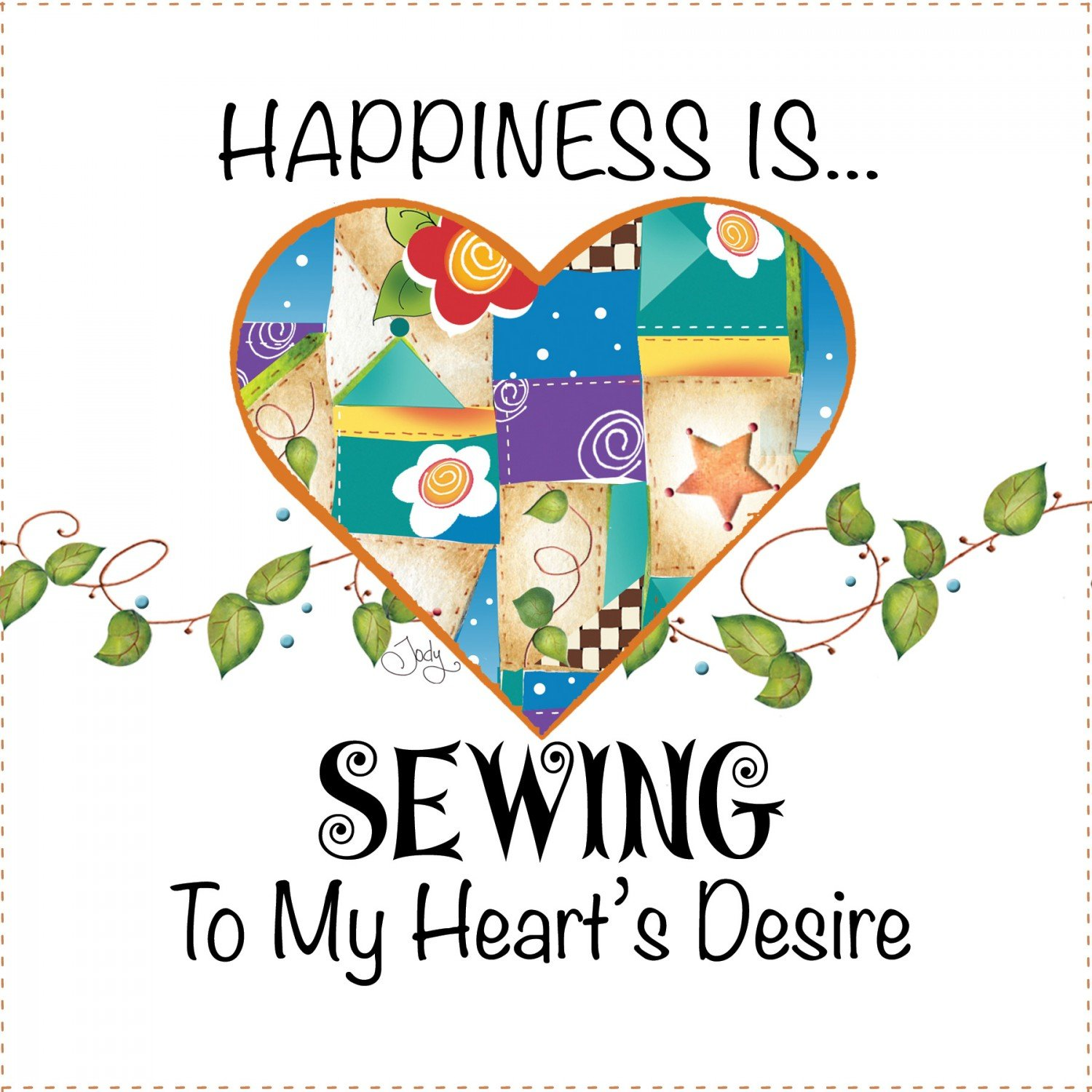 Jody Houghton - Fabric Art Panel - AP649 - Happiness - 6in x 6in