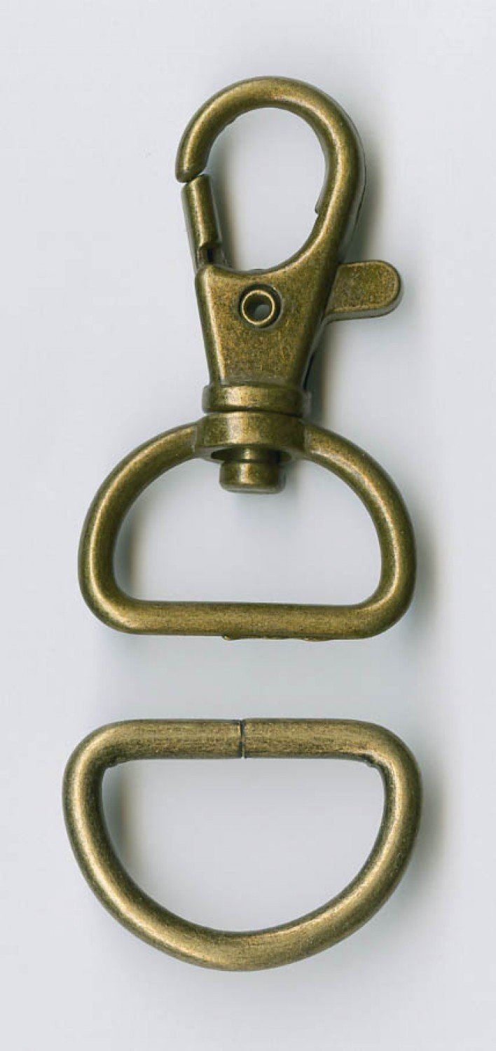D Ring and Swivel Clip - 3/4in - Antique Brass - ATK510AB