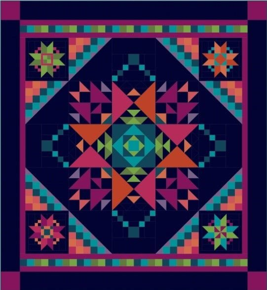 Amish With A Twist III BOM Quilt - Blue - Pieced or Applique - Queen or King!