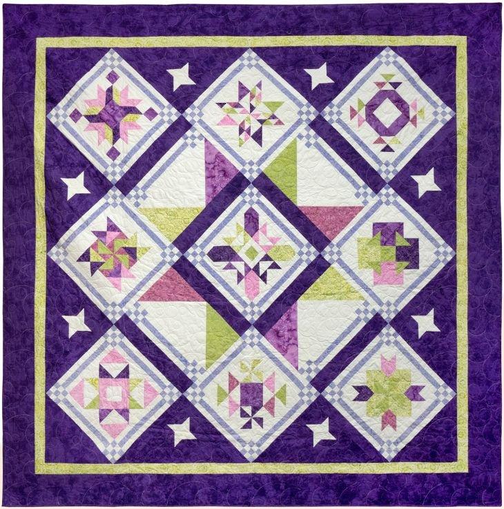 Starry Sky Batik Sampler BOM - Purple Colorway - Includes Backing!