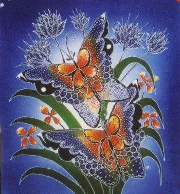 Batik Panel - Butterflies - 18 x 19 - BF10