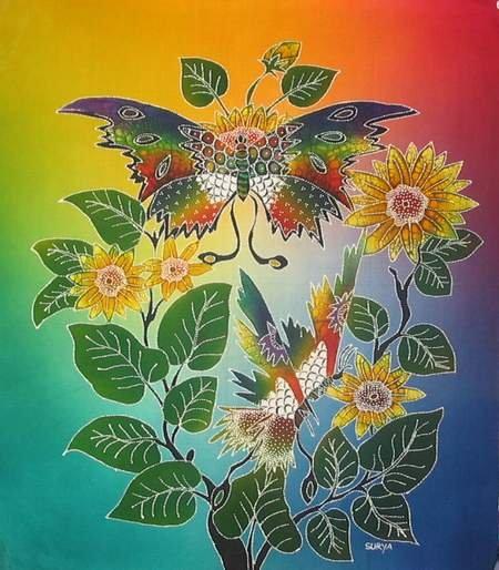 Batik Panel - Butterflies - 18 x 19 - BF50 GARDEN BUTTERFLIES