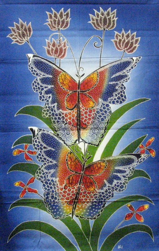 Batik Panel - Butterflies - 18 x 27 - BF176 Rainbow Red