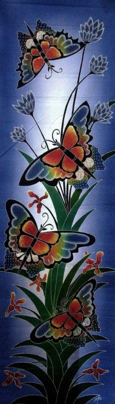 Batik Panel - Butterflies - 18 x 54 - BF407 Large Rainbow Butterflies