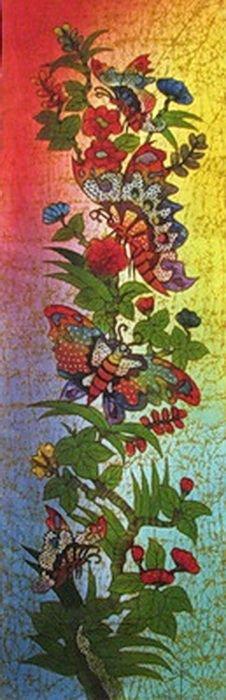 Batik Panel - Butterflies - 18 x 54 - BF465BL STAINED GLASS BUTTERFLIES1