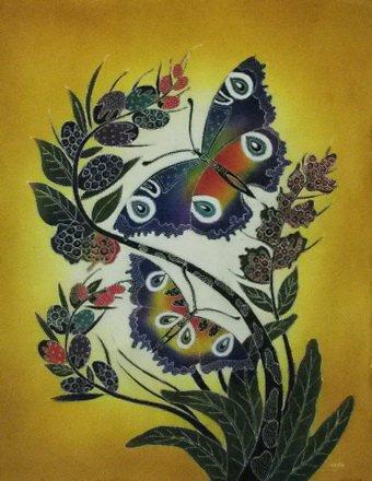 Batik Panel - Butterflies - 28 x 36 - BF218 Golden Sky Butterfly - INCLUDES FREE BATIK JEWEL PATTERN!