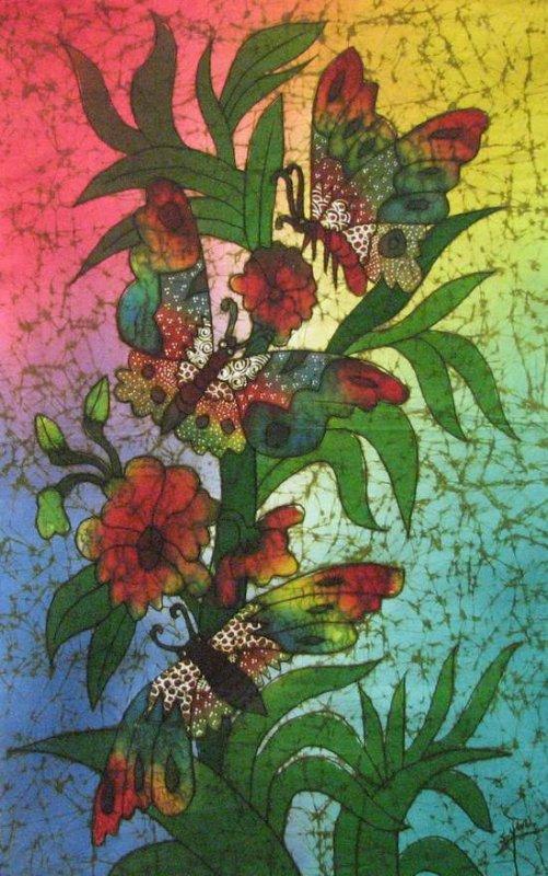 Batik Panel - Butterflies - Crackle - 18 x 28 - BF121BL 3 Butterflies Too