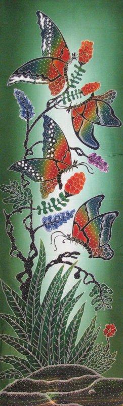 Batik Panel - Butterfly - 18 x 54 - BF402 Elegant Butterflies Green