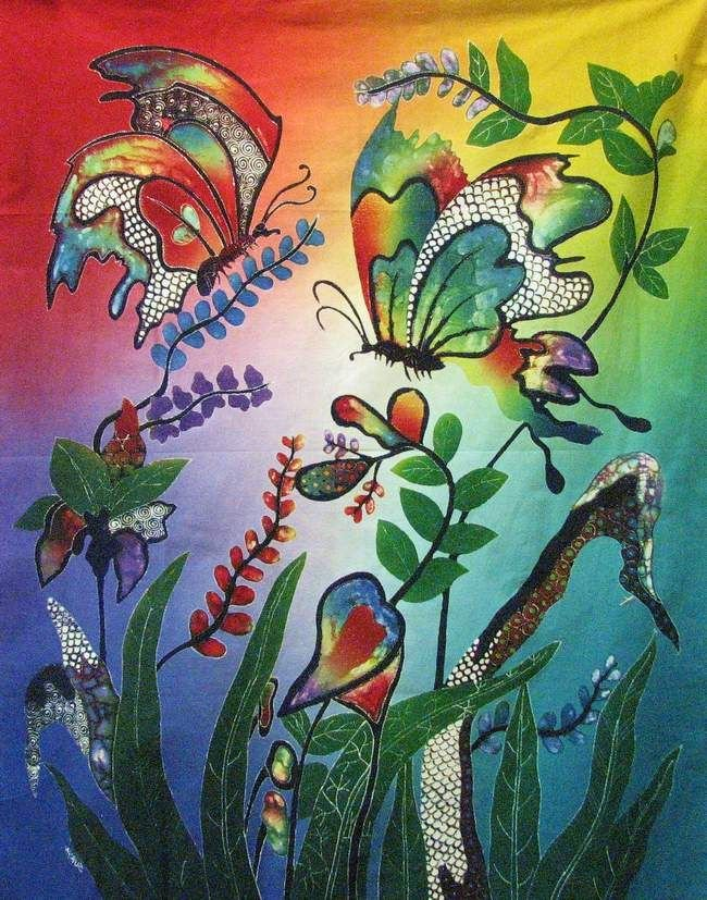 Batik Panel - Butterflies - 28 x 36 - BF218 Butterfly Bliss - INCLUDES FREE BATIK JEWEL PATTERN!