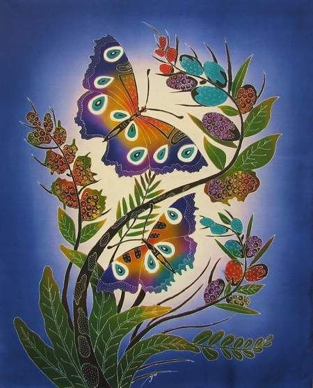 Batik Panel - Butterfly Brilliance - 28 x 36 - BF219 Blue - INCLUDES FREE BATIK JEWEL PATTERN!