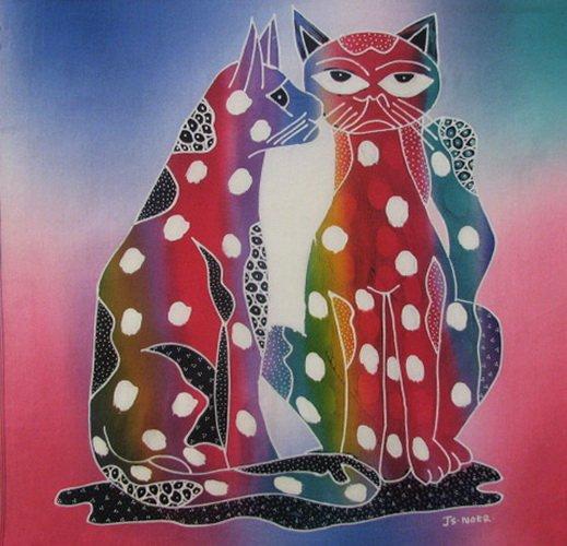 Batik Panel - Cats - 18 x 20 - CT72 WHISPERING CATS1