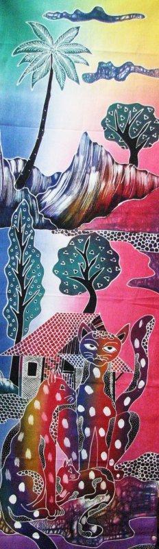 Batik Panel - Cats Below Mountain - 18 x 54 - CT404