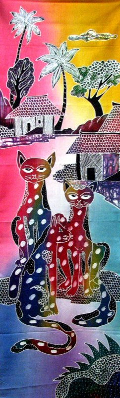 Batik Panel - Cats in a Village - 18 x 54 - CT407