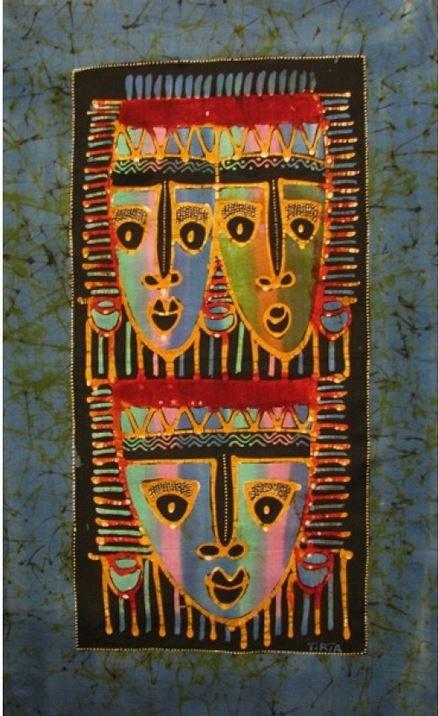 Batik Panel - Colorful Mask Trio-Green - 18in x 29in - PR106B