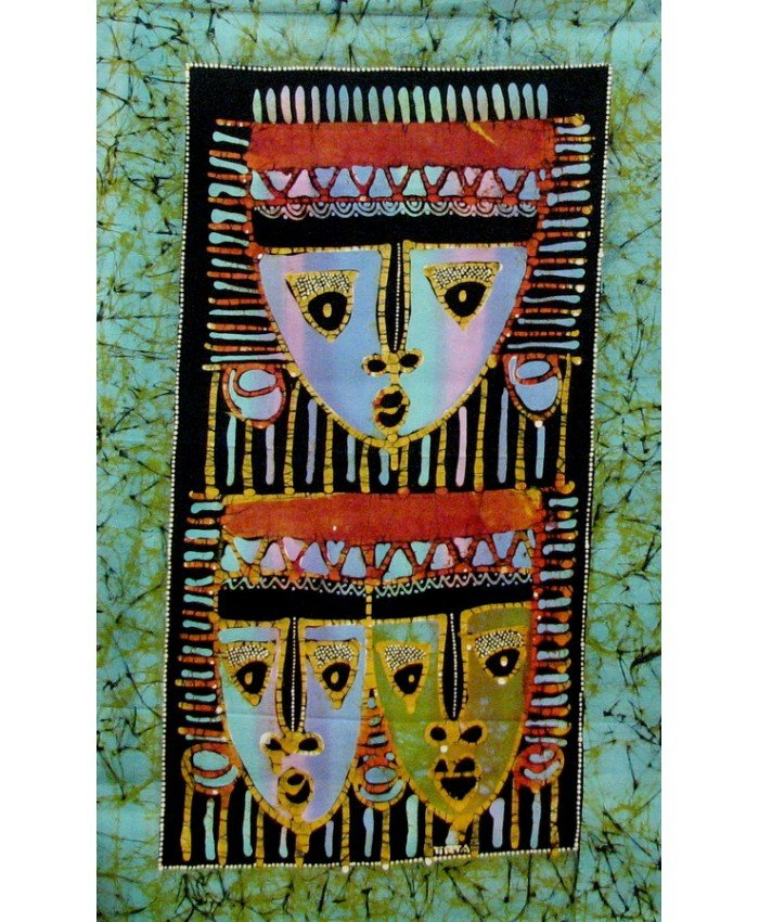 Batik Panel - Colorful Mask Trio-Green - 18in x 29in - PR106G