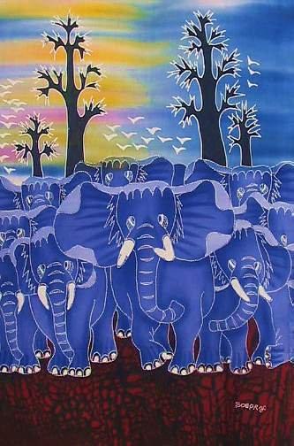 Batik Panel - Elephants on the Move - 18 x 29 - EL102