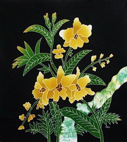 Batik Panel - Flowers - 18 x 19 - FL06Y YELLOW FLOWERS1