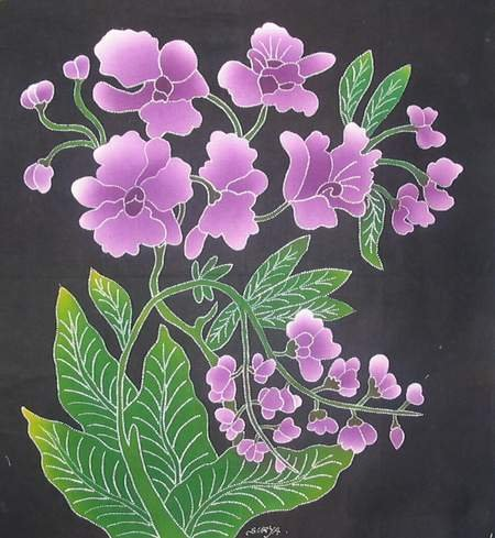 Batik Panel - Flowers - 18 x 19 - FL21 PURPLE FLOWERS