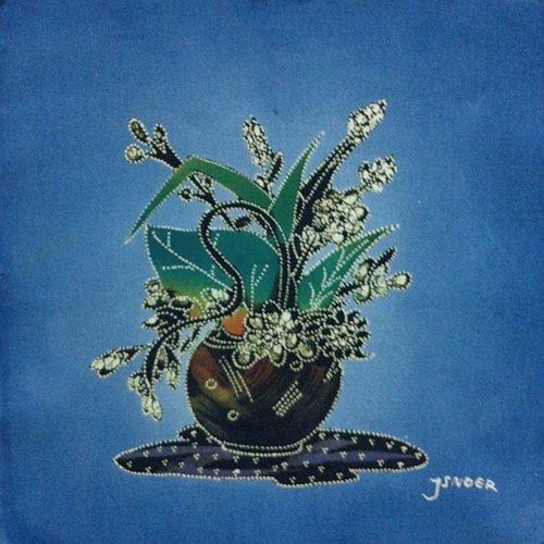 Batik Panel - Flowers - Short Vase - 12 x 12 - FLXB