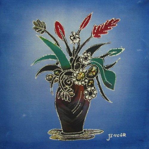 Batik Panel - Flowers - Tall Vase - 12 x 12 - FLXA