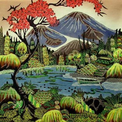 Batik Panel - Mountains - 18 x 20 - IN20 Mountain Scene