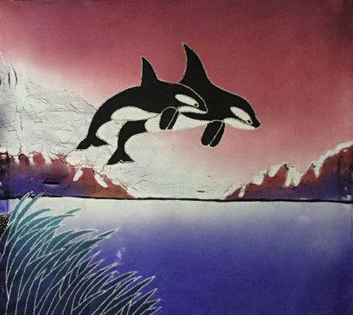 Batik Panel - Orcas - Wine - 18 x 20 - ON03W ORCAS