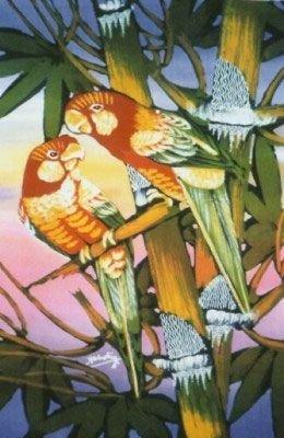 Batik Panel - Parrot Sunset - Large 29in x 36in - BD204 - INCLUDES FREE BATIK JEWEL PATTERN!