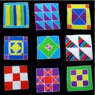 Batik Panel Set - Amish Quilts Packet - Set of 9 - AM5INCH