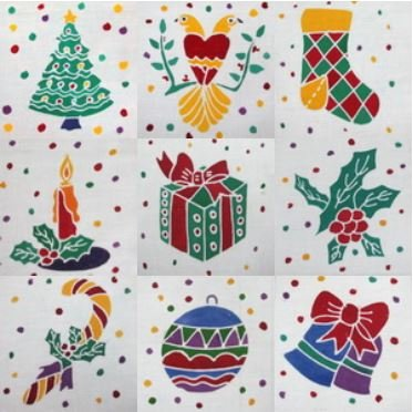 Batik Panel Set - Christmas Theme Packet - Set of 9 - CR5INCH