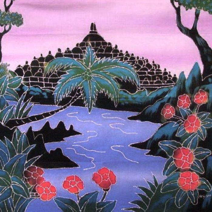 Batik Panel - South Pacific Scene - 17x20 - IN21 - Bourabadour