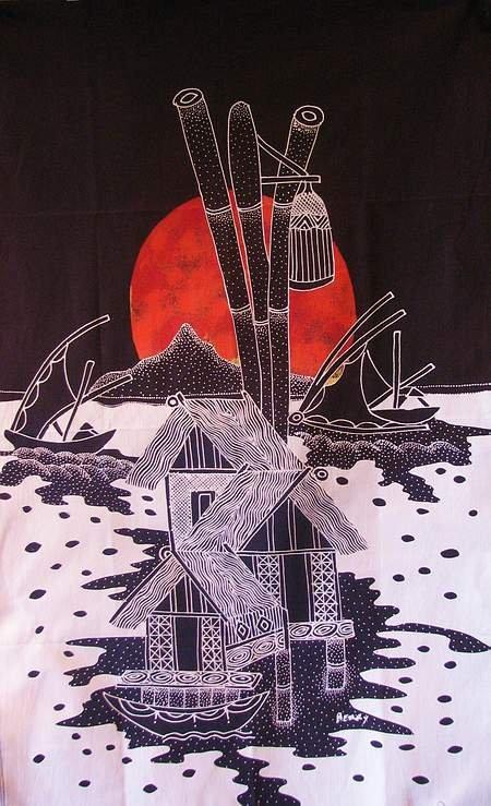 Batik Panel - Sunset in Paradise - Black Sky - 18 x 29 - IN130