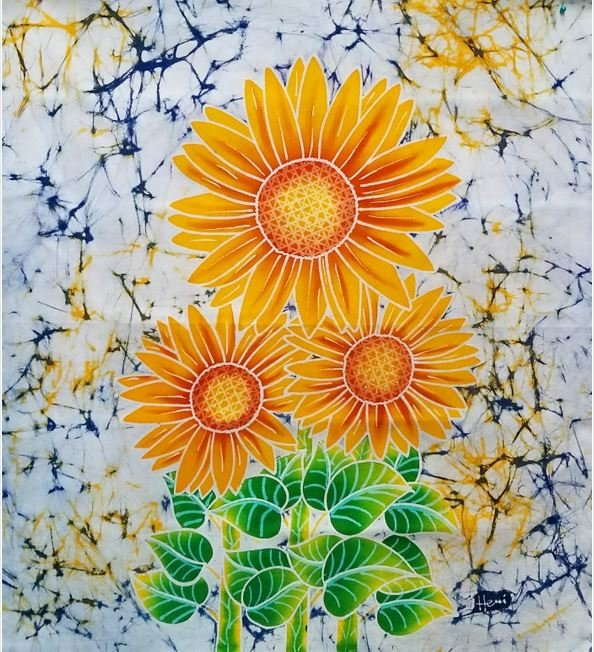 Batik Panel - Three Sunflowers - 18 x 19 - FL17 Yellow