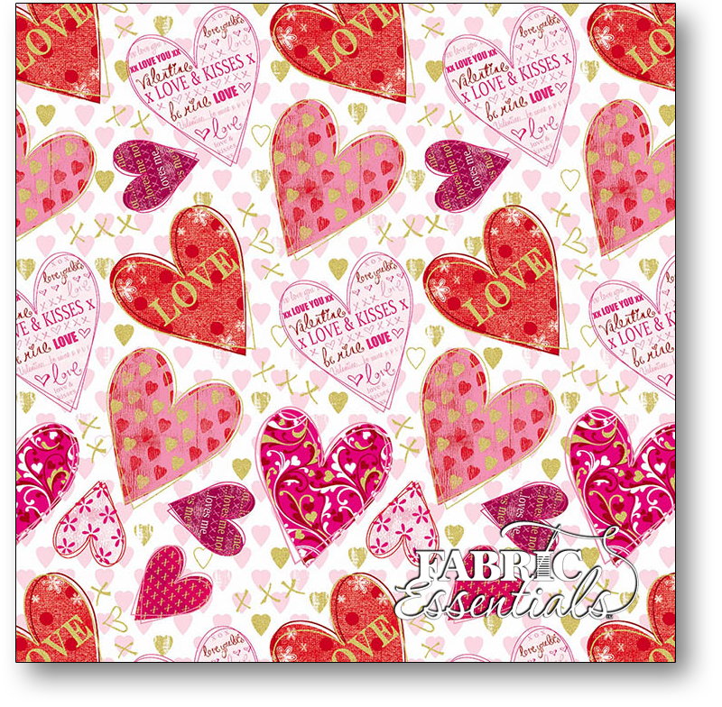 Benartex - Kanvas - Cherish - KAS8965M-09 - White - Metallic Hearts