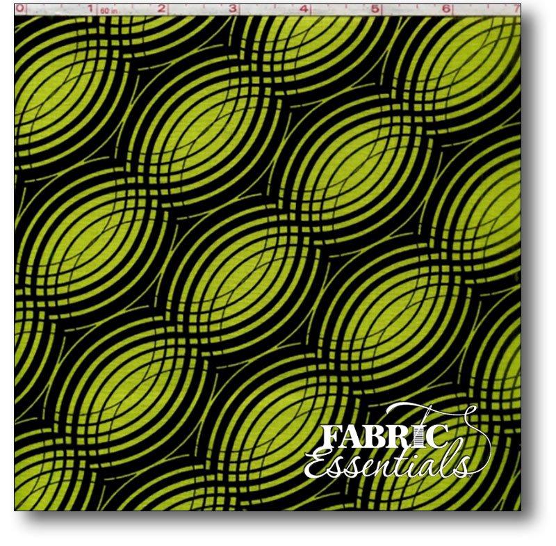 Benartex - Kanvas - Tempo - Rhythym - 05594-99 Lime on Black - BUY THE BOLT - 11in