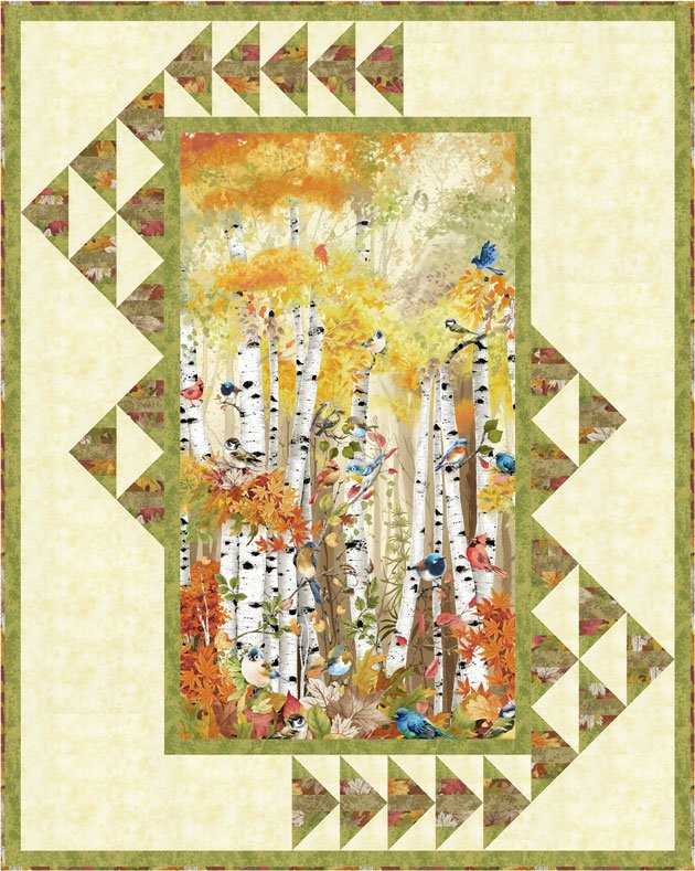 Timeless Treasures - Chong-a Hwang - Birch Song - Autumn in Flight Quilt KIT