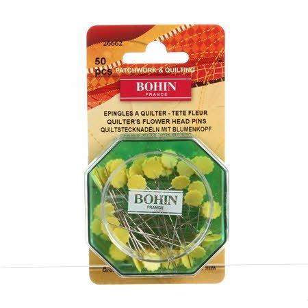 Bohin - Flower Head Pin Fine Sharps - Yellow Size 32 - 2in 50ct - 26662